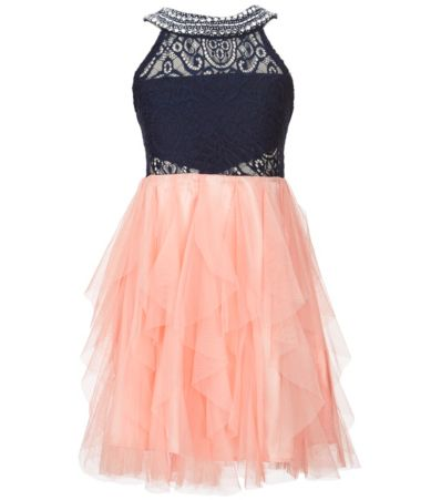Wedding Girls Party Dress kids girls dresses party big 7 16 tween diva beaded neck fit and flare dress