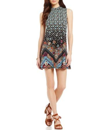 ONeill Lennon Floral-Printed Mock Neck Knit Shift Dress Dillards