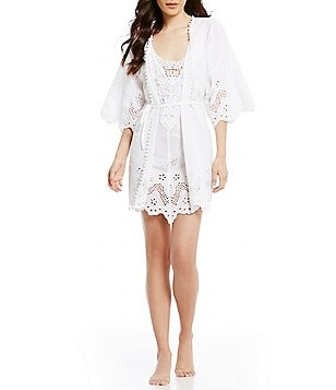 In Bloom by Jonquil Idlewild Scalloped Eyelet & Crochet Wrap Robe