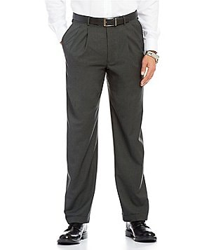 Roundtree & Yorke Travel Smart Ultimate Comfort Classic Fit Pleated Non-Iron Plaid Dress Pants