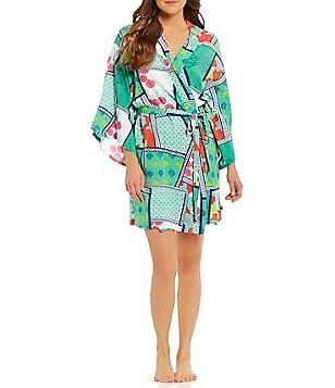 Josie Mixed-Print Challis Kimono Robe