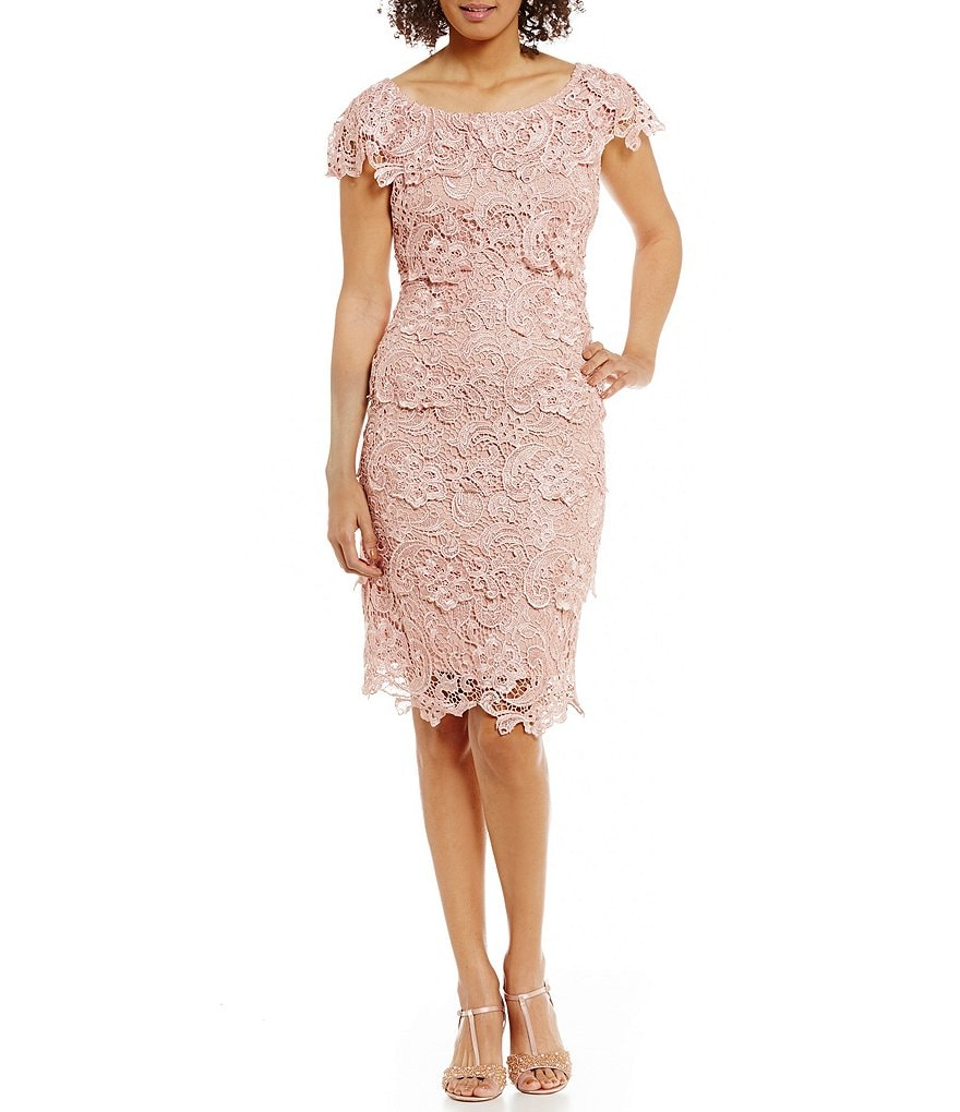 Emma Street Cap-Sleeve Tiered Lace Sheath Dress | Dillards