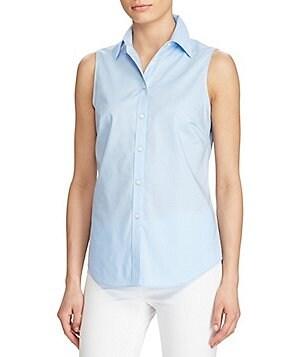 Lauren Ralph Lauren Petite Cotton Sleeveless Shirt