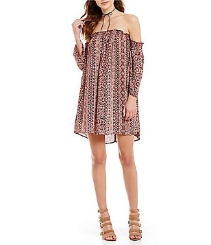 Angie Off-The-Shoulder Printed Long-Sleeve Shift Dress
