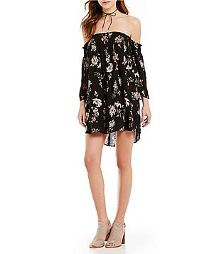 Angie Off-The-Shoulder Floral-Printed Long-Sleeve Shift Dress