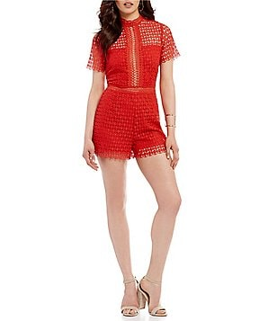 Sugarlips Mock Neck Crochet Lace Romper