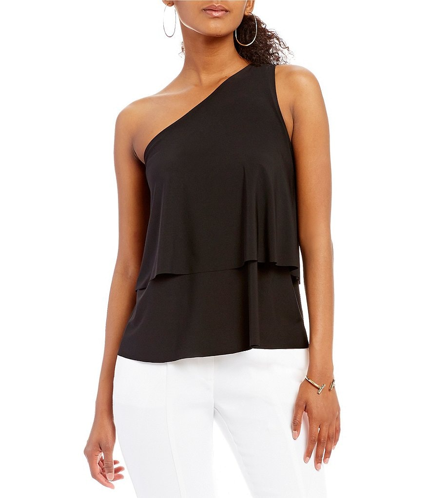 H Halston One Shoulder Ruffle Top