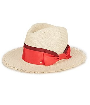 kate spade new york Straw Trilby with Grosgrain Bow
