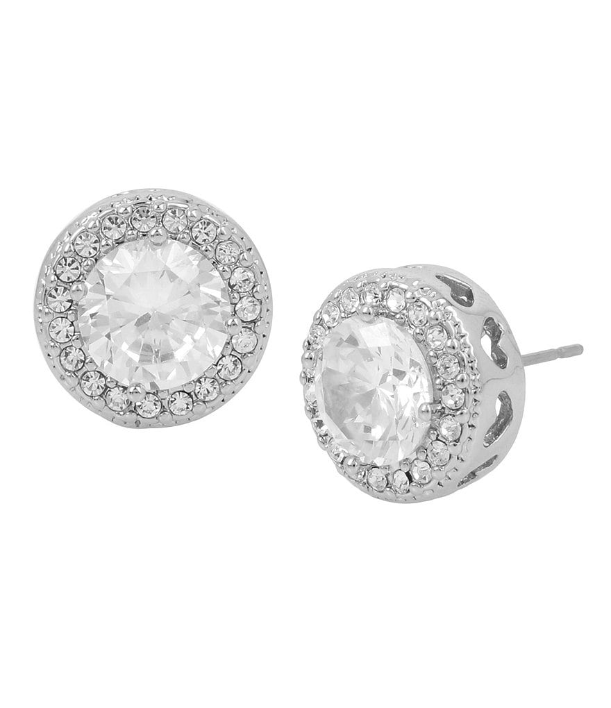 Blue by Betsey Johnson Cubic Zirconia Pavé Halo Round Stud Earrings