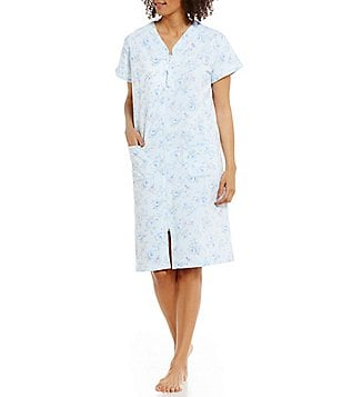 Miss Elaine Embroidered Floral Terry Zip Robe