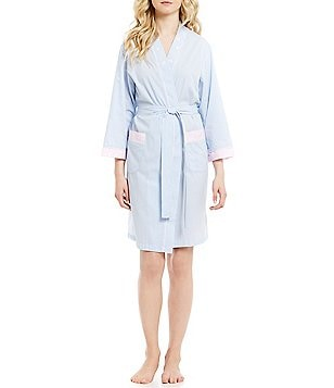 Miss Elaine Daisy-Embroidered Striped Wrap Robe