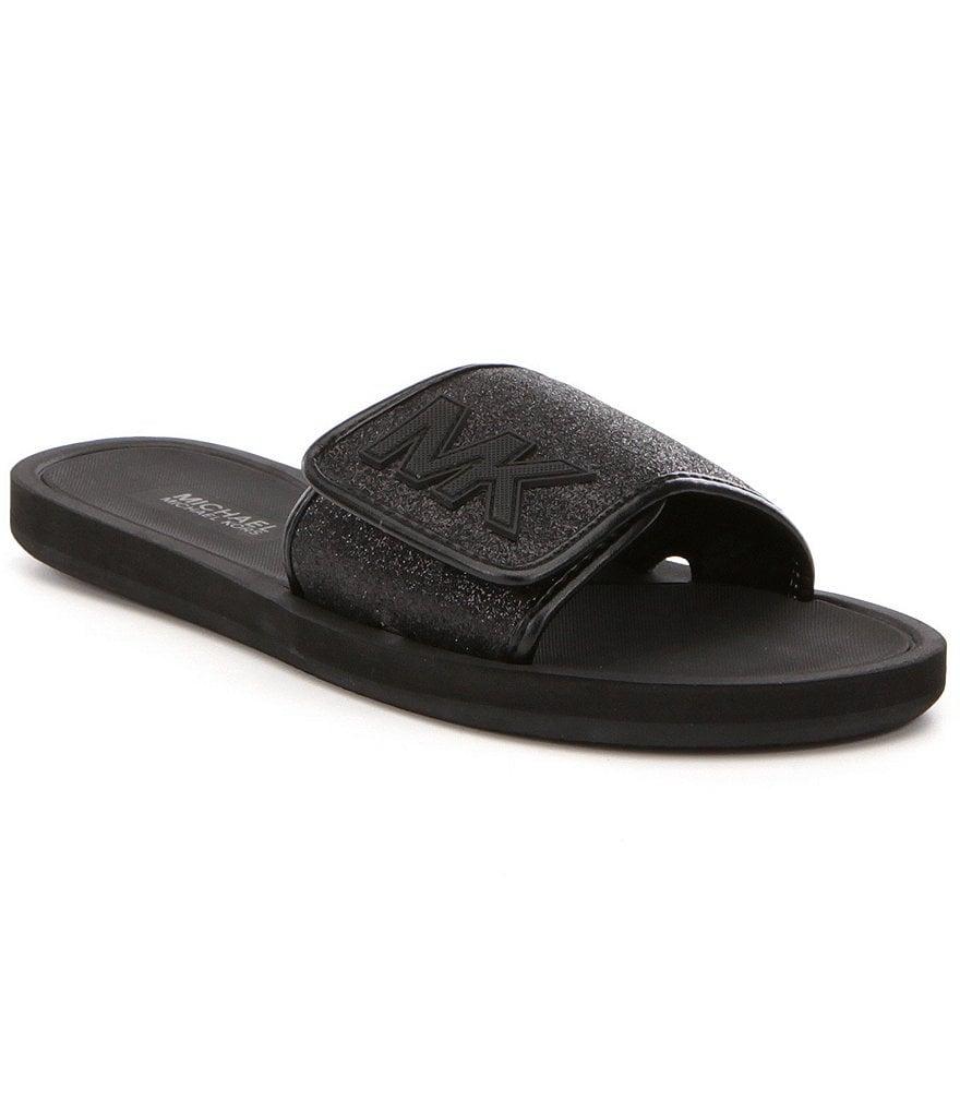 Black mk sandals - Michael Michael Kors Mk Glitter Slide On Sandals