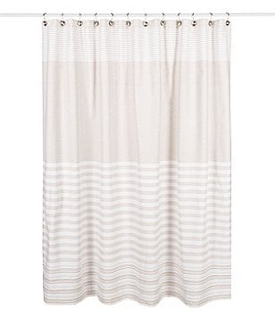 Noble Excellence Striped Cotton Shower Curtain