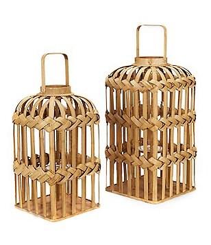 Southern Living Woven Bamboo Lantern