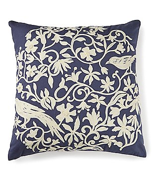 Villa by Noble Excellence Bird Chinoiserie-Embroidered Cotton & Linen Square Pillow