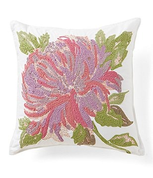 Southern Living Flora Flower-Embroidered Square Pillow