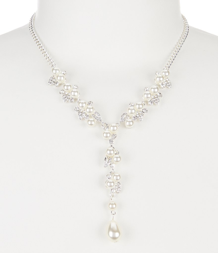 Cezanne Faux-Pearl Cluster Y-Necklace