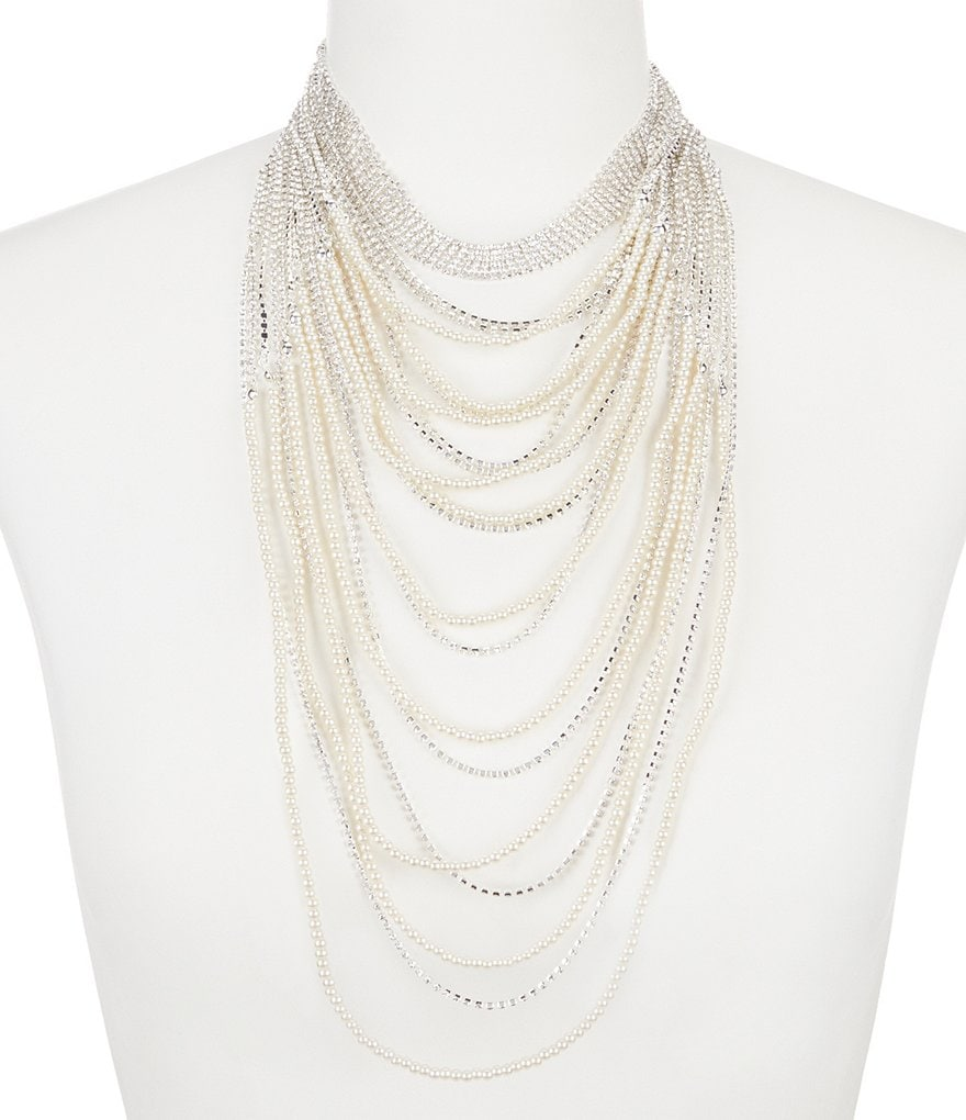 Cezanne Fantasia Faux-Pearl Multi-Strand Choker Necklace