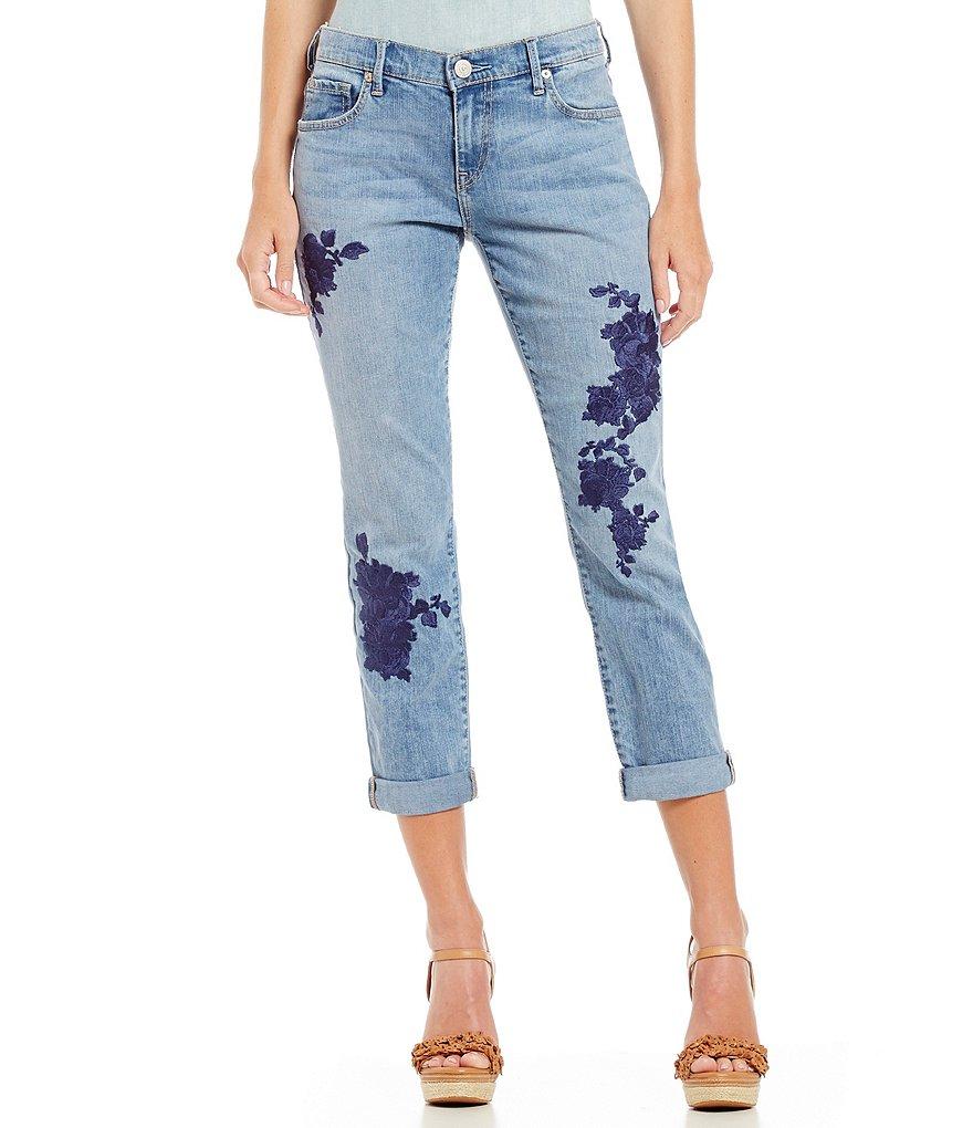 True religion cameron embroidered slim boyfriend jeans