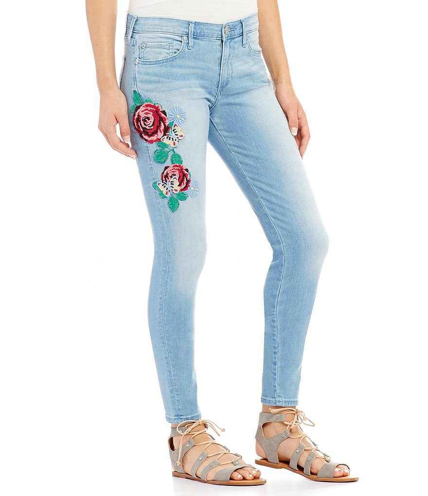 True religion halle embroidered rose super skinny jeans