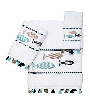 Avanti Linens Three Fishes Tasseled Embroidered Bath Towels