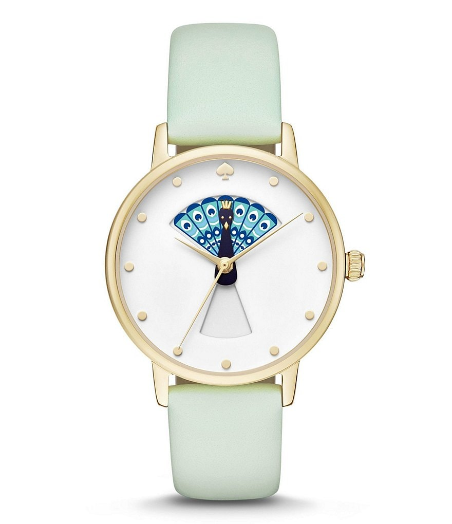 kate spade new york Metro Peacock Analog Leather-Strap Watch