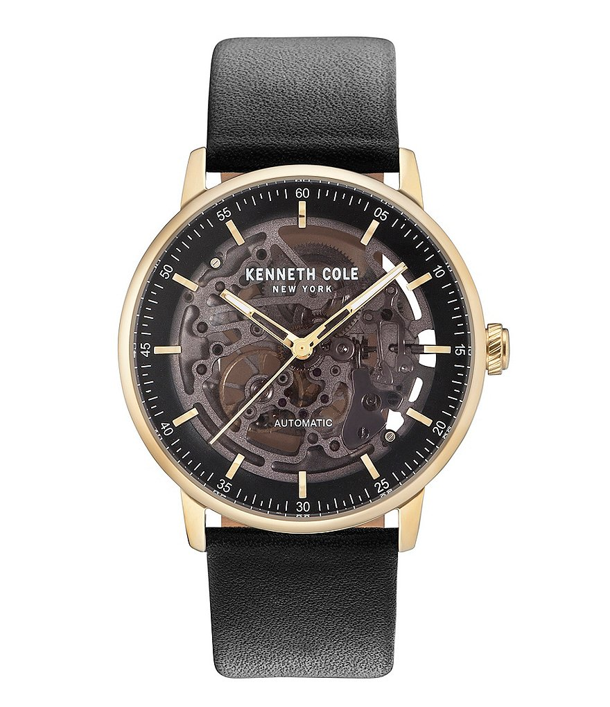 Kenneth Cole New York Automatic Leather-Strap Watch