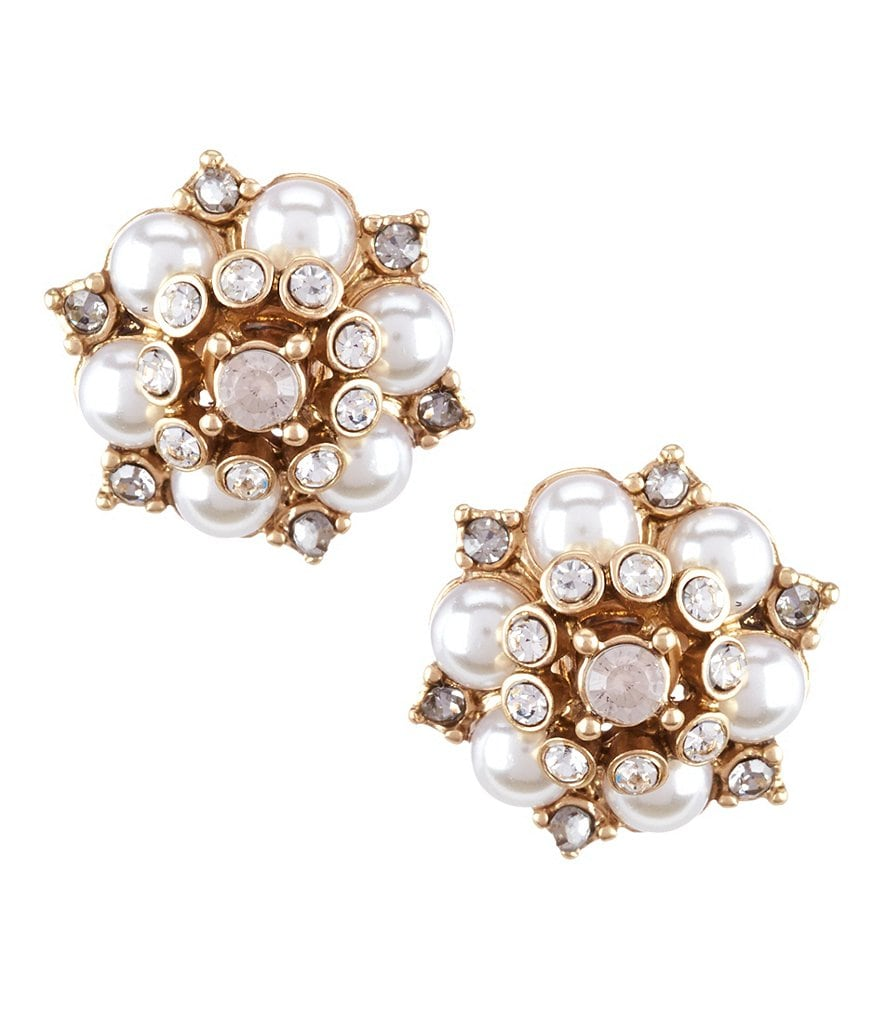 Belle Badgley Mischka Pavé Faux-Pearl Stud Earrings