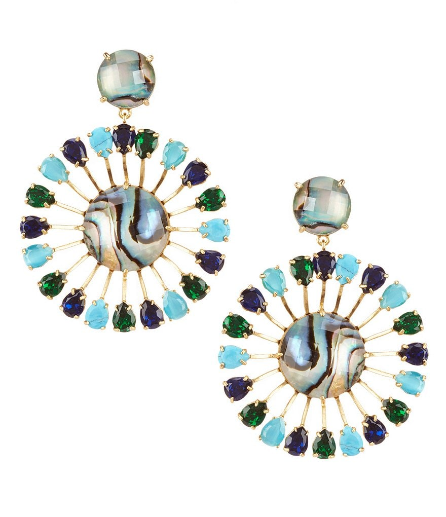 kate spade new york Peacock Way Cat´s Eye & Mother-Of-Pearl Statement Drop Earrings
