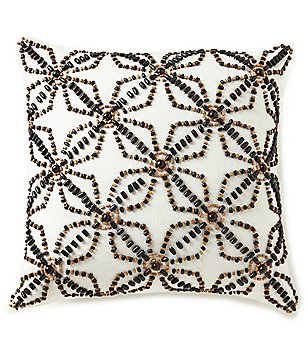 Noble Excellence Hand-Beaded Square Pillow