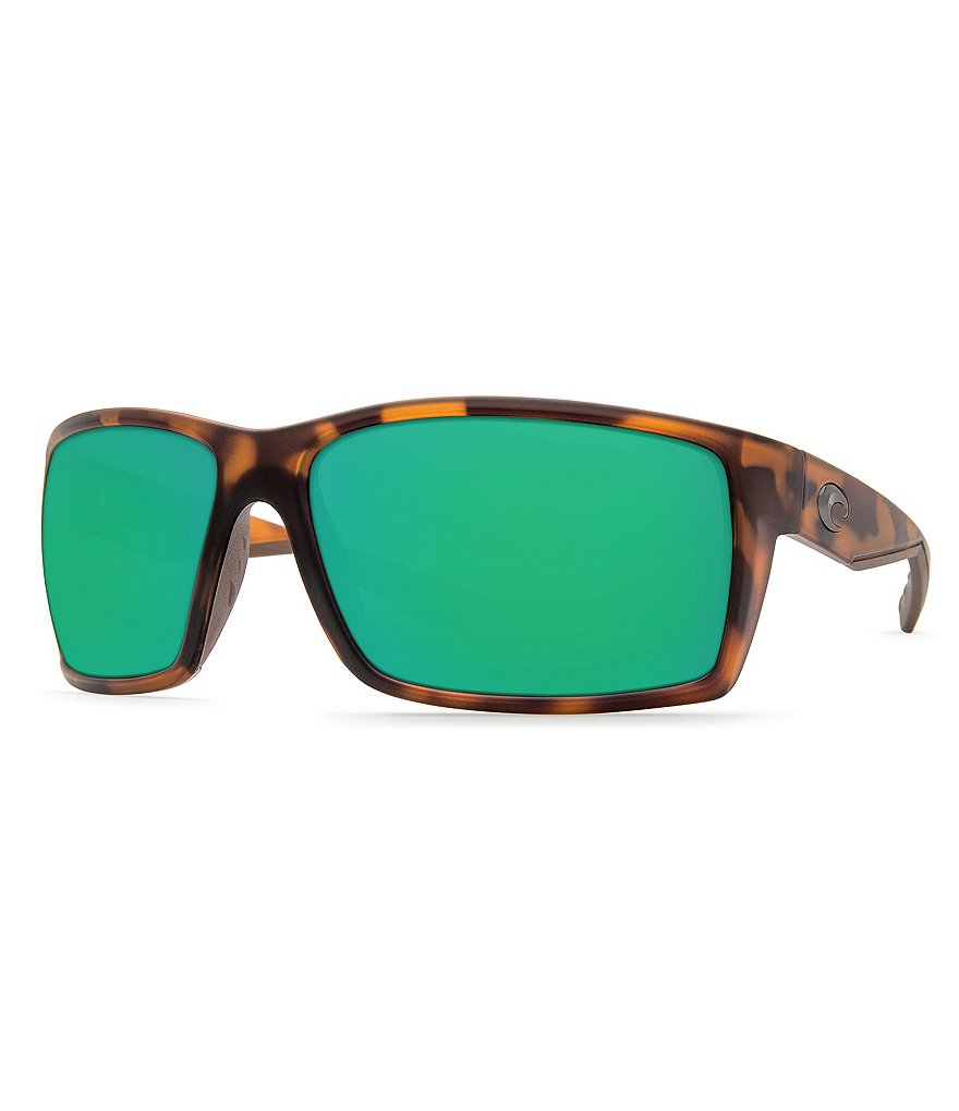 Costa Reefton Matte Retro Tortoise Mirrored Polarized Rectangle Sunglasses