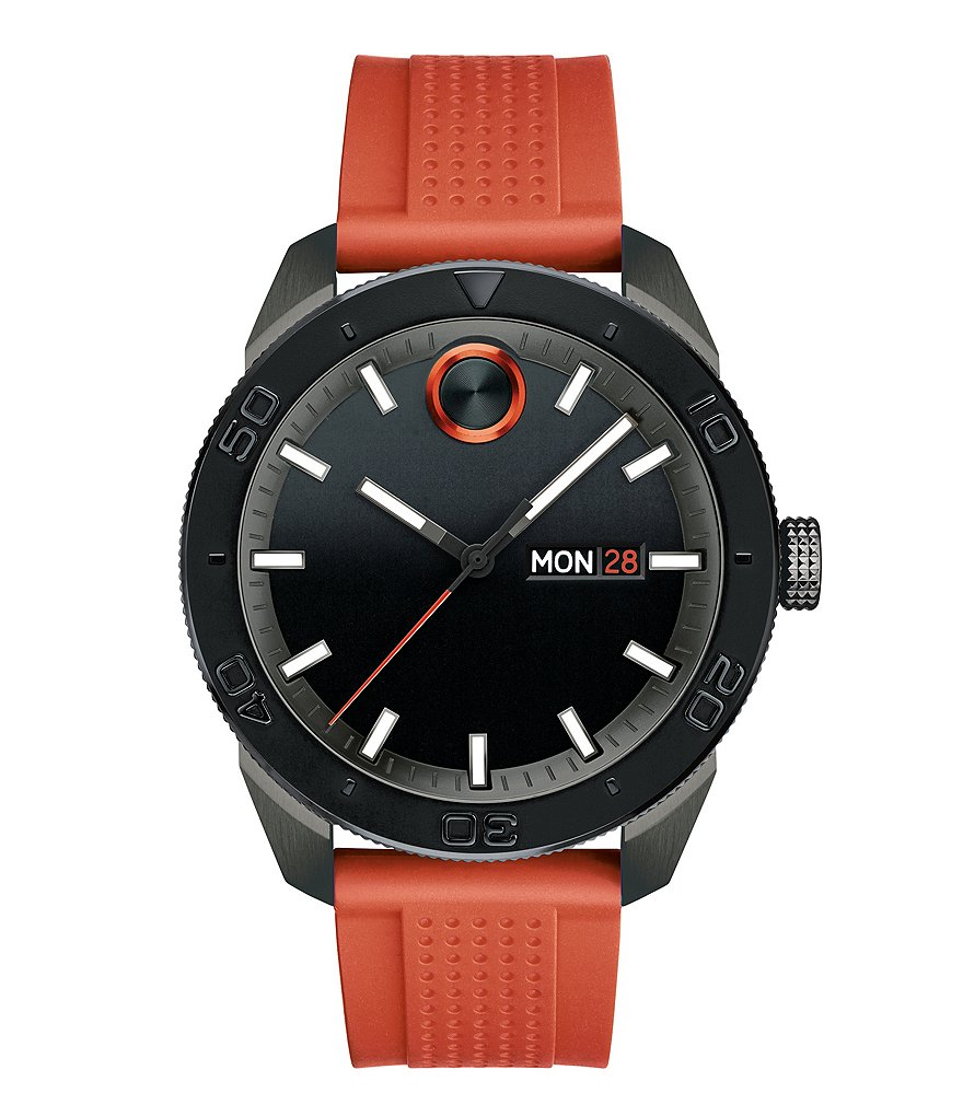 Movado Bold Analog, Day & Date Silicone-Strap Sport Watch