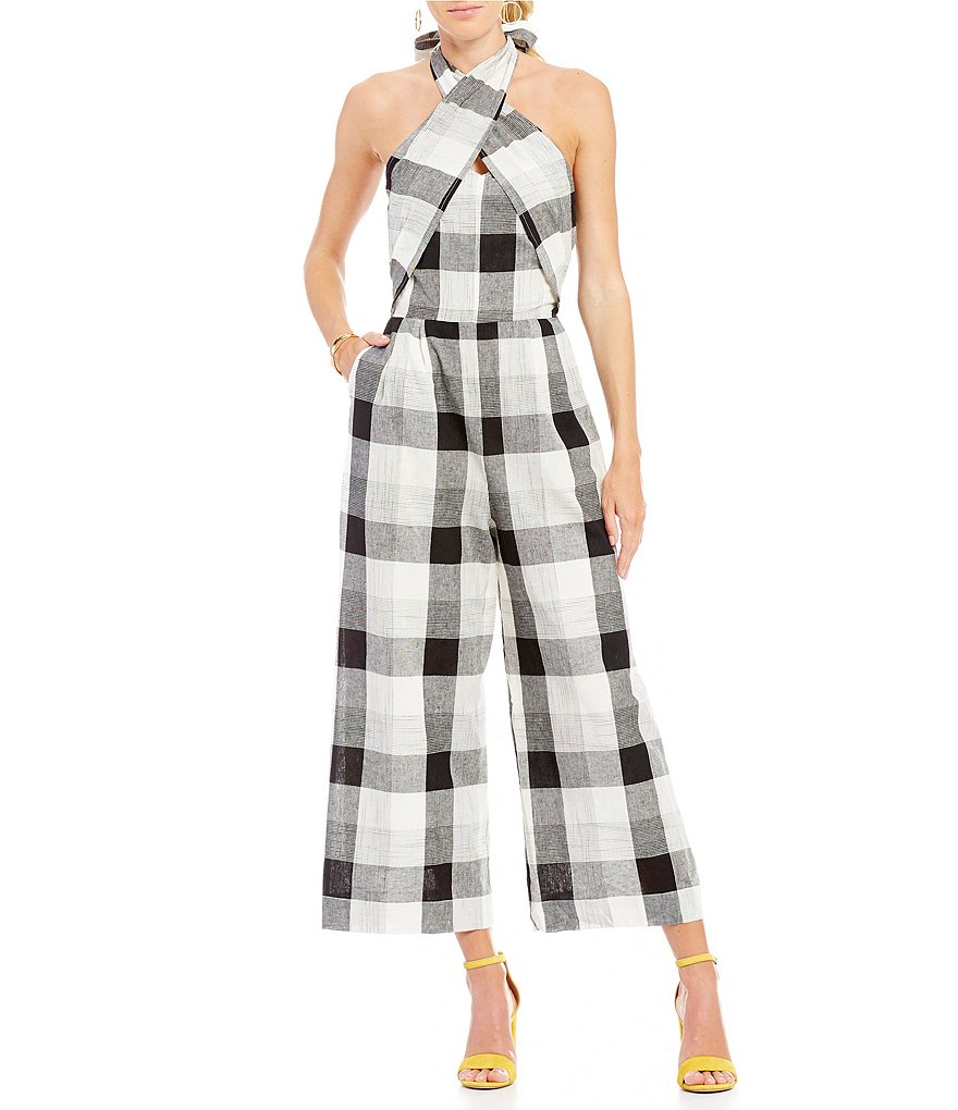 Moon River Gingham Print Halter Neck Cropped Jumpsuit