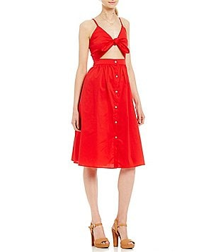 GB Tie-Front Sweetheart Neck Cutout Button-Down Midi Dress