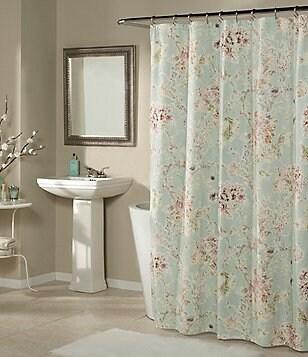 Studio D Millie Floral Faux-Linen Shower Curtain & Hooks