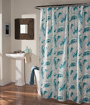 Studio D Perfectly Paisley Faux-Linen Shower Curtain & Hook Set