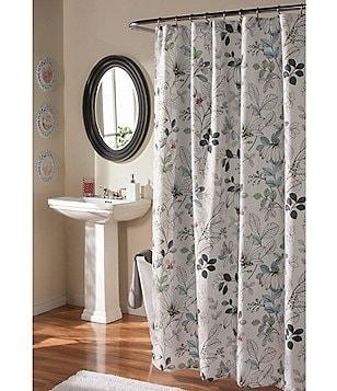Studio D Sketchbook Floral Faux-Linen Shower Curtain & Hooks Set