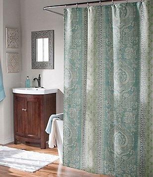 Studio D Callie Medallion Faux-Linen Shower Curtain & Hooks Set