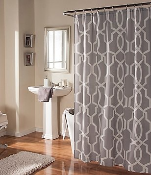 Studio D Linea Scroll Faux-Linen Shower Curtain & Hooks Set