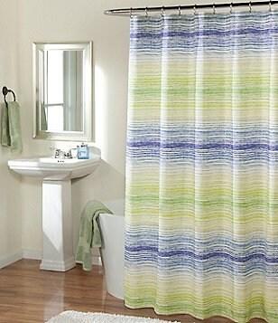Studio D Azura Striped Faux-Linen Shower Curtain & Hooks Set