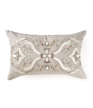 Southern Living Beaded & Sequined Scroll-Embroidered Linen Breakfast Pillow