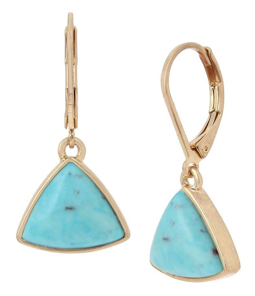 Kenneth Cole New York Geometric Turquoise Drop Earrings