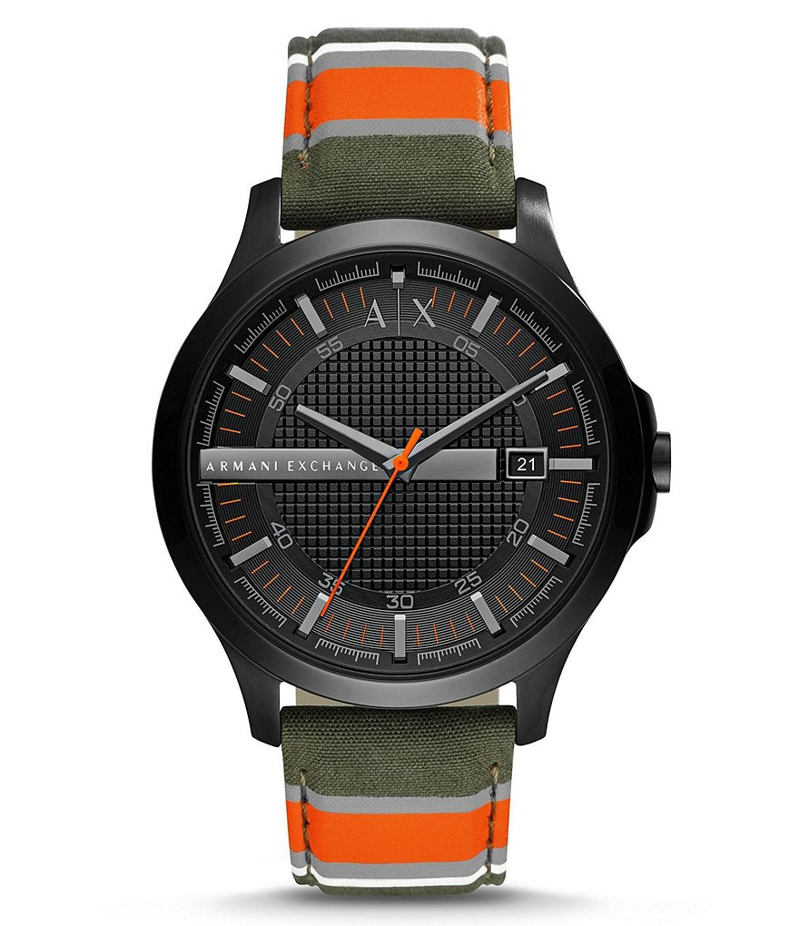 AX Armani Exchange Analog & Date Striped Fabric-Strap Watch
