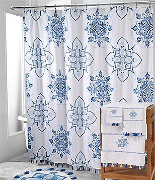 Avanti Portico Tasseled Floral Medallion Shower Curtain