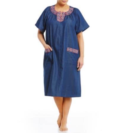 Go Softly Plus Cross Stitched Denim Zip Patio Dress Dillards