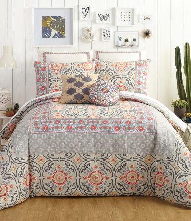 Jessica Simpson Puebla Floral Medallion Tile Comforter