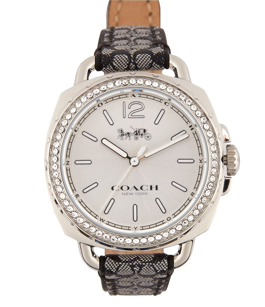 COACH TATUM STAINLESS STEEL BLACK LEATHER STRAP WATCH