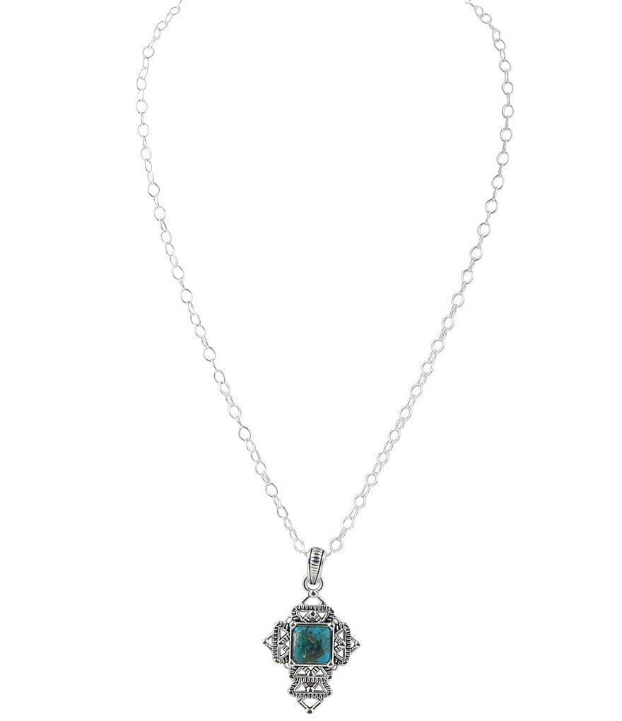 Barse Sterling Silver & Turquoise Cross Pendant Necklace