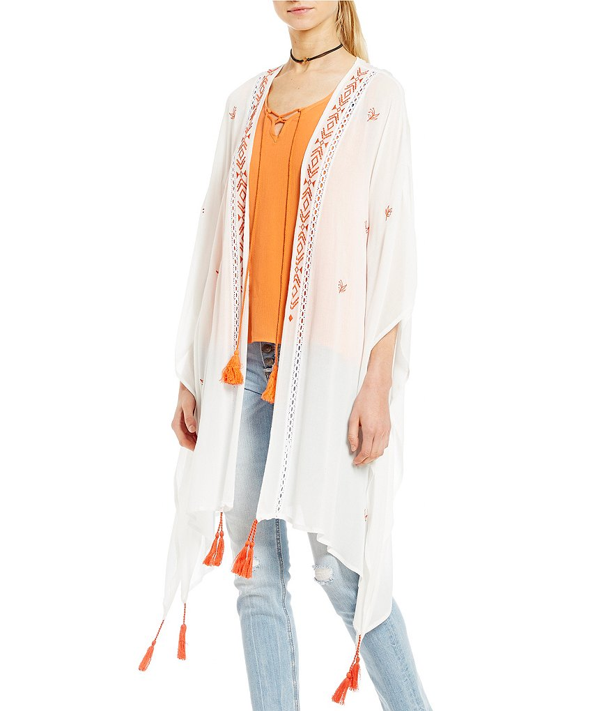 Miss me floral embroidered tassel bell sleeve kimono