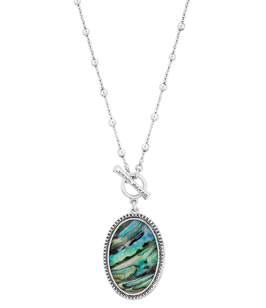 Lucky Brand Reversible Jade & Abalone Pendant Necklace